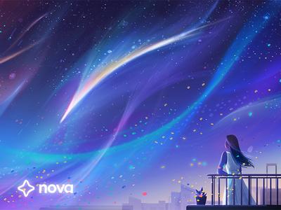 Stargazing (Nova / Airbnb 02) stars illustration character airbnb advertising