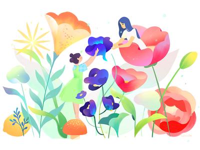 Macy's Flower Show 012 teamwork retail reading macys illustration flower shop flowers character
