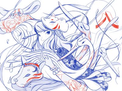 Lucky Number 8 — Kitsune mural illustration
