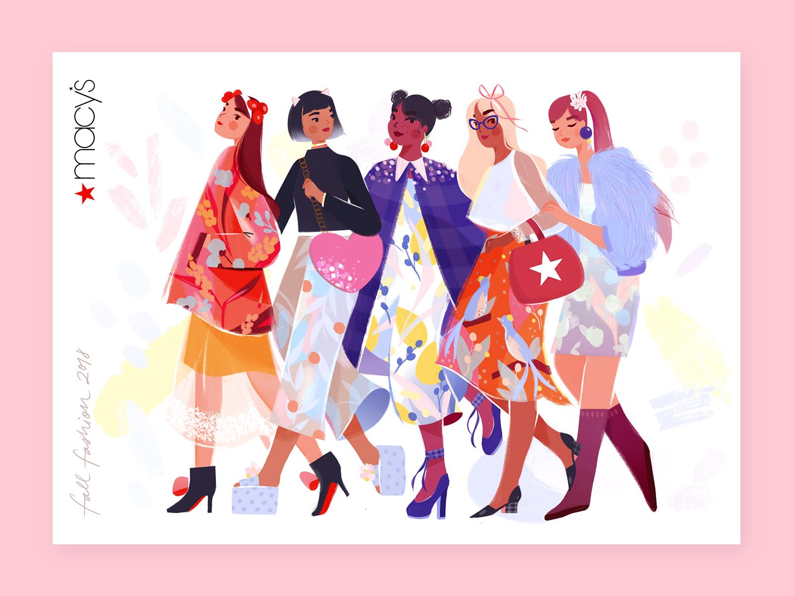 Macy's — Fall Fashion 2018 macys retail print fall girlsquad characters illustration fashion