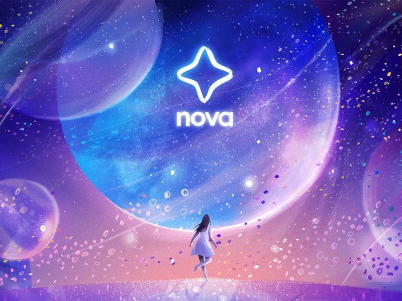 Stargirl (Nova / Airbnb 03) editorial illustration stardust planets stargirl stars advertising character airbnb