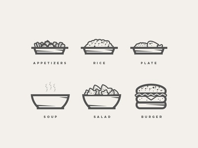 BARRIO Icons rest barrio logo icons icon appetizers soup salad rice plate burger wbd