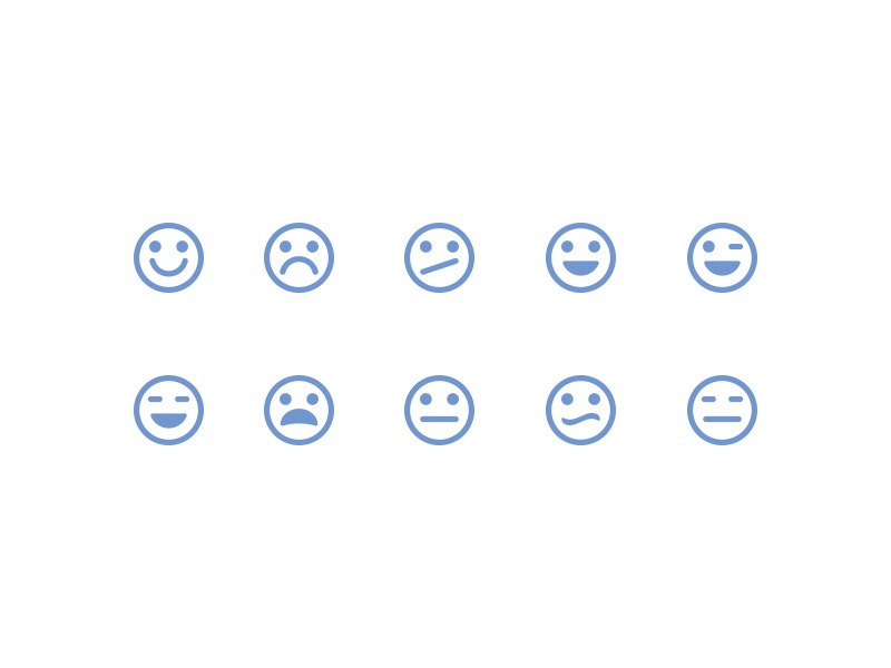Type 2 Emoticons reactions emotions icons iconography design emoticons glyphs symbols flat set