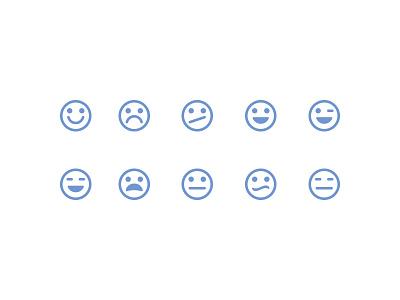 Type 2 Emoticons reactions emotions icons iconography design emoticons glyphs symbols flat set