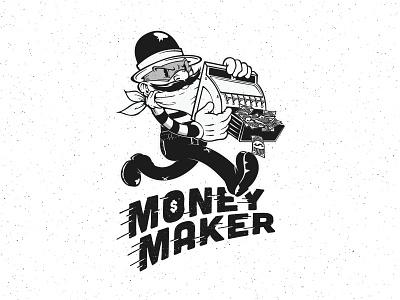 Money Maker typography design character illustration