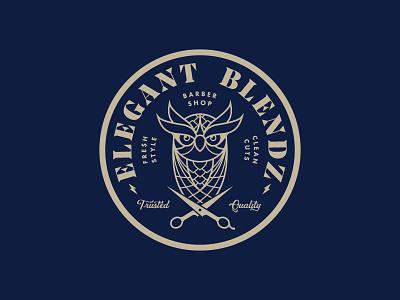 Elegant Blendz Logo stamp emblem identity owl badge typography barbershop design logo