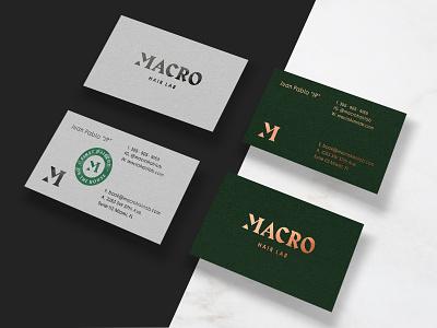 Macro Hair Lab Business Cards typography logo copper foil design stamp hair salon business card branding