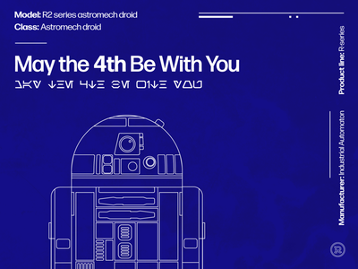 May the 4th Be With You! blueprint science fantasy sci-fi r2 r2-d2 star wars poster type icon typography illustrator vector illustration design graphic design