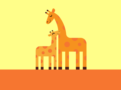 Giraffes wildlife art animals child parent mother giraffes giraffe graphic design illustrator vector design illustration