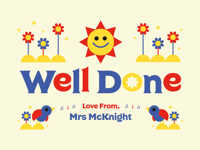 Well Done Card primary colours primary school card design thank you card teacher education school card typography illustrator vector illustration design graphic design