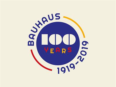 100 Years of Bauhaus Badge bauhaus100 bauhaus illustrator vector logo design identity branding type mark icon logo typography illustration design graphic design