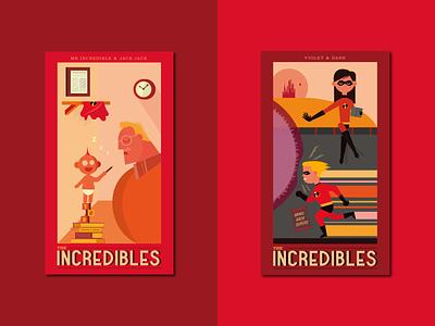 The Incredibles Prints superheroes pixar disney the incredibles poster type logo illustrator typography vector graphic design design illustration
