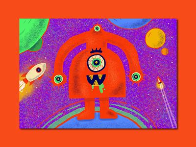 Planet-Hopping Alien art procreate sci-fi space alien poster graphic design design illustrator illustration