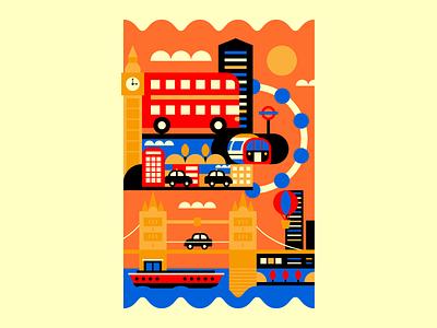 London – Sawgrass Ink london bridge london eye london underground uk england london graphic design poster illustrator vector design illustration