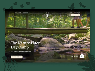 The Nature Place — 1 𝑜𝑓 6 natural illustration camping homepage video navigation outdoors nature web design ux ui