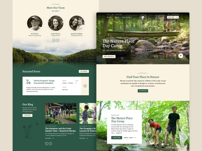 The Nature Place — 2 𝑜𝑓 6 tracks deer dragonfly butterfly fern flower hand drawn natural illustration camping homepage outdoors nature website web design ux ui