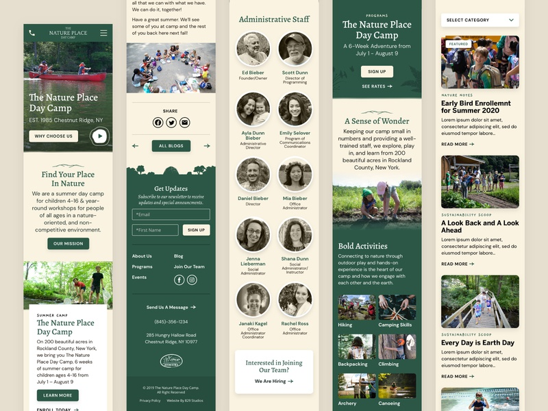 The Nature Place — 4 𝑜𝑓 6 programs homepage blog staff illustration web design web natural nature outdoor camping camp responsive mobile ux ui