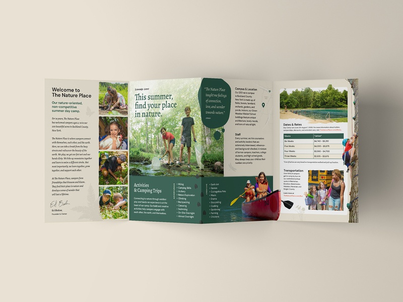 The Nature Place — 6 𝑜𝑓 6 branding natural nature accordion trifold camping camp graphic  design brochure mockup brochure