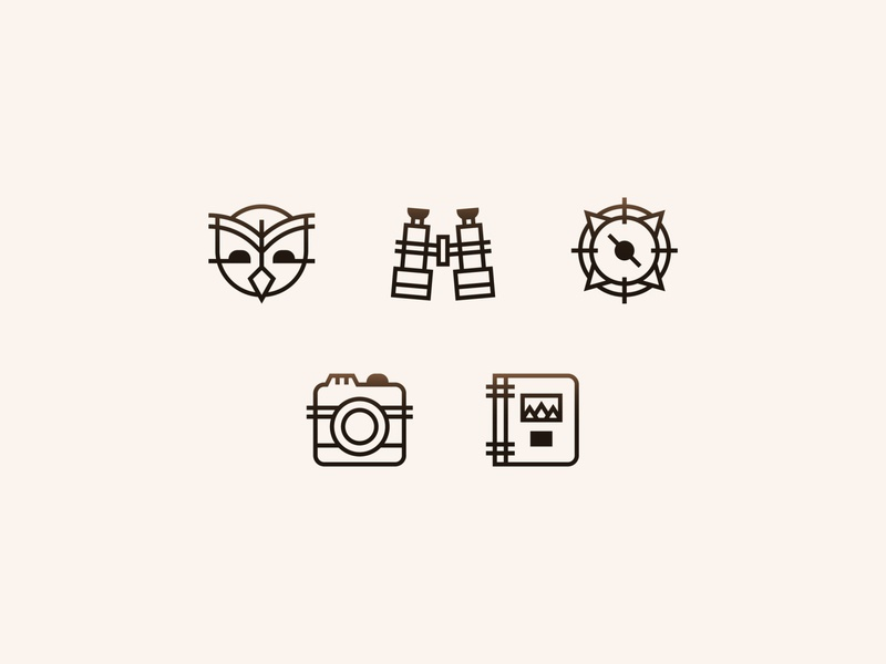 Jackson Hole Wildlife Safaris  —  7 𝑜𝑓 9 notebook notes guide photography picture camera compass binoculars owl illustration design iconography icon set icon