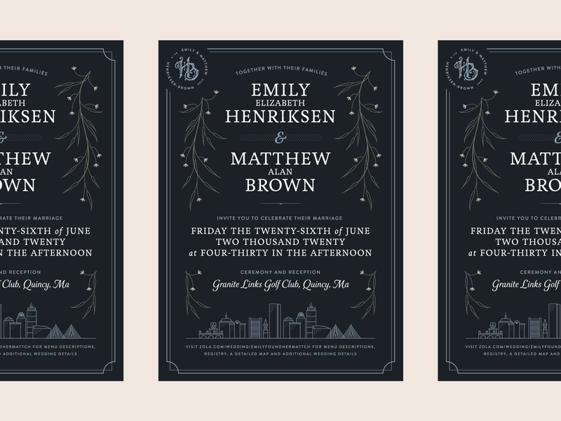 Henriksen-Brown Wedding — 1 𝑜𝑓 5 graphic design marriage type print card logo branding typography save the date filigree boston invitation wedding