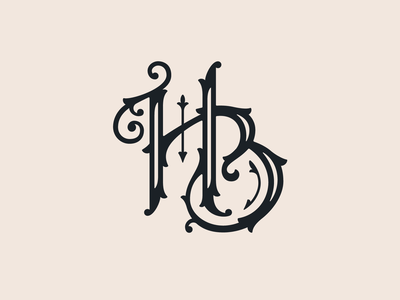 Henriksen-Brown Wedding — 3 𝑜𝑓 5 custom marriage wedding branding badge lettering type typography hb logo vintage hand lettering monogram