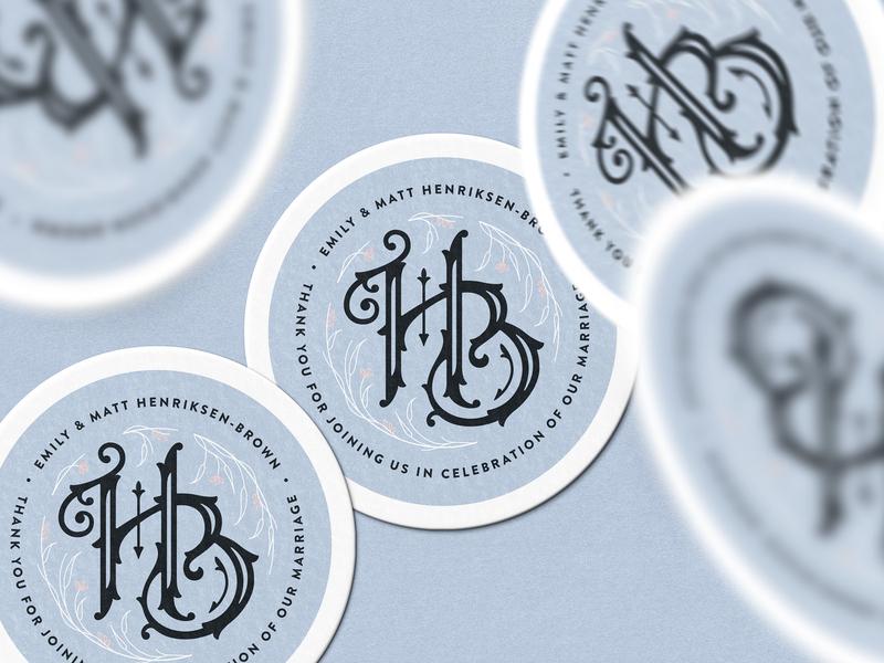 Henriksen-Brown Wedding — 4 𝑜𝑓 5 typography type branding marriage wedding logo lettering custom monogram stickermule coaster