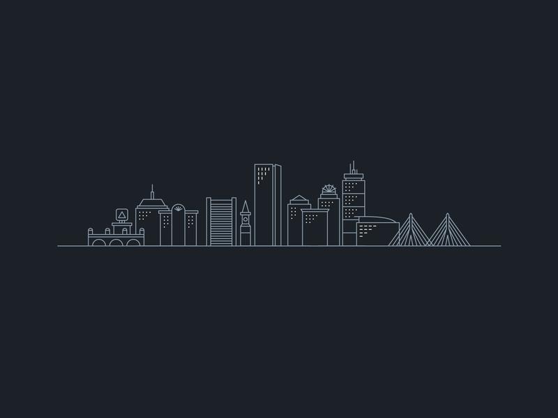 Henriksen-Brown Wedding — 5 𝑜𝑓 5 minimal clean design skyscraper building vector branding city skyline boston line art illustration