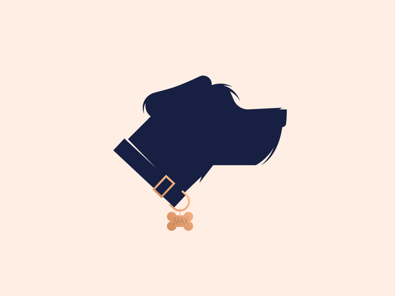 MAX adopt license cocker spaniel schnauzer hound dog illustration logo boston simple minimal clean vector flat graphic design silhouette animal max