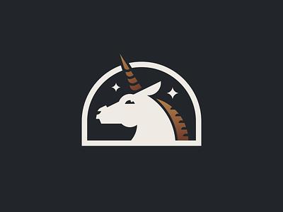 Unicorn animal flat vector stars fairy tale magic fantasy mark mascot character illustration branding logo gold horse emblem unicorn