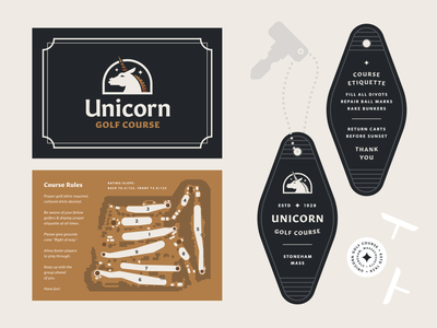 Unicorn Golf Course — 2 𝑜𝑓 3 clean vector typography illustration golf unicorn key key tag map graphic design branding