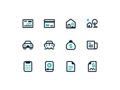 Kennebunk Savings Bank Icon System calculator loan mortgage house check credit card two-tone flat graphic design web design illustration clean ui branding boston banking bank icon set iconography icon