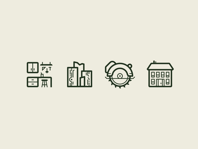 Elm Street Shop Icons — 2 𝑜𝑓 2 icon set lumber wood shop diy house circular saw woodworking graphic design branding iconography icons