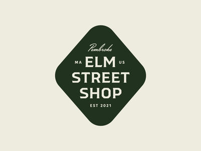 Elm Street Shop — 1 𝑜𝑓 2 typography graphic design diamond vintage clean personal branding workshop woodworking branding logo emblem badge