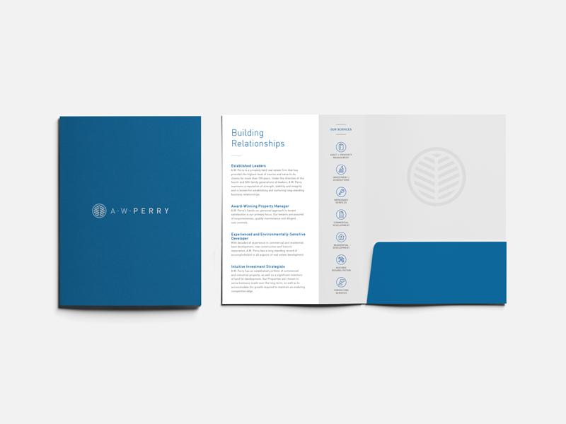 AW Perry — 3 𝑜𝑓 6 print folder emblem logo leaf real estate boston aw perry
