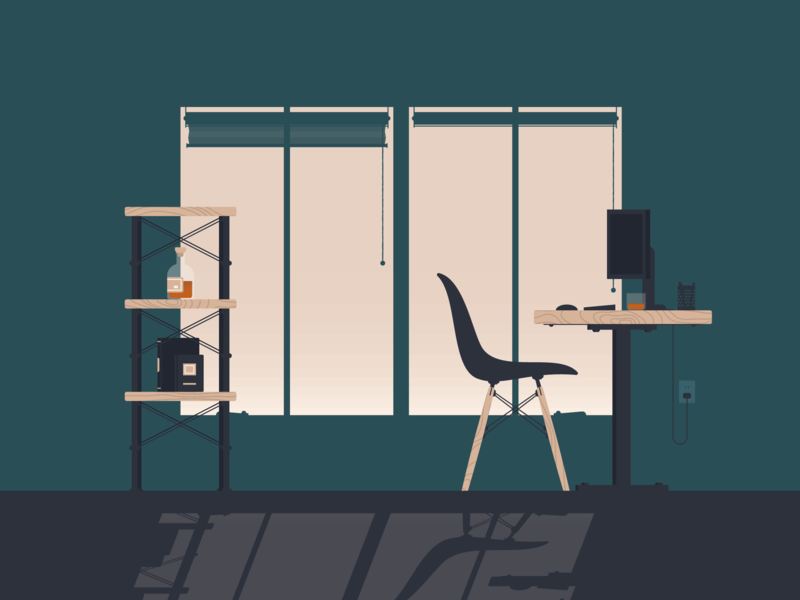 Work From Home wood eames chair graphic design whiskey cozy workspace shelf window chair shadow illustration desk