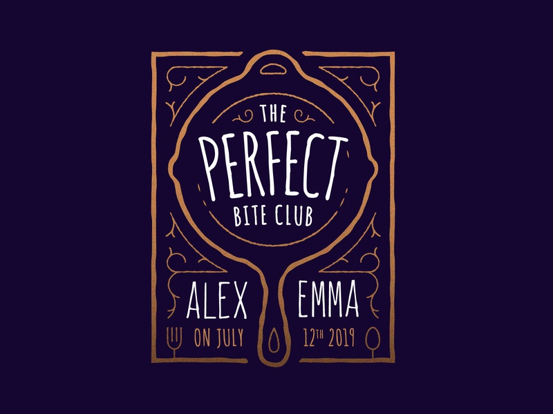 The Perfect Bite Club badge design lettering hand lettering purple gold logo emblem badge vintage skillet cast iron savethedate invitation wedding card wedding