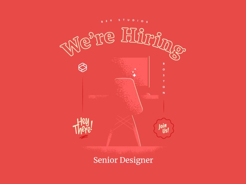 We're Hiring! ui badge illustration designer senior boston webdesign job hiring