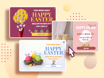 Easter day popup templates easter egg conversion rate optimisation user interface overlay ecommerce special offer bunny easter modal pop-ups popup lightbox