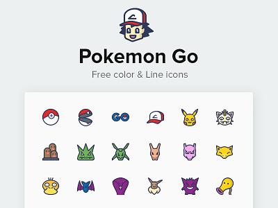 Free Pokemon Go Icons pokemon go flat set pikachu pokemongo solid line color icons free pokemon