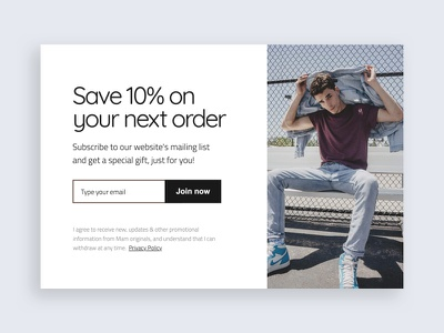 Exit intent popup with special discount conversion rate optimisation user interface overlay e commerce special offer coupon fashion email modal pop-ups popup lightbox subscription box subscription adoric subscribe
