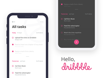 Hello, Dribbble todolist to do list hello dribbble first shot debut dribbble todo task reminder manager interface ui app