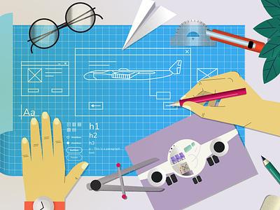 Medium article illustration design system plant aviation vector flat illustration