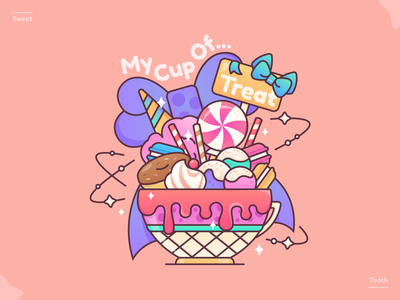 My Cup Of Treat creative graphic design sweets dessert lovers sweet tooth donuts lollipop ribbons colourful candies tea cup desserts macarons ice cream line art illustration