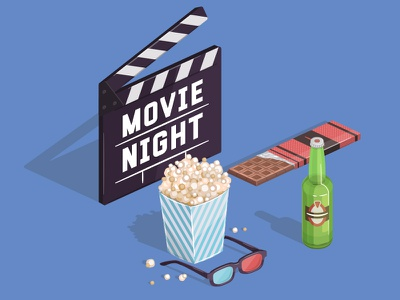 Movie Night  cinema ticket 3 dimension chocolate beer clapperboard film popcorn box