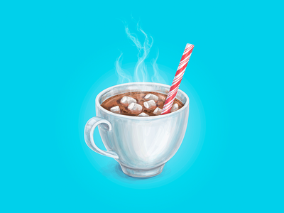 Hot Cocoa hand drawn cup of coffee cup of tea poster advertising starbcuks cup hot candycane marshmallow cocoa christmas