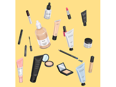 Cosmetics pencil nail polish mascara make up lipstick isometric cream packaging cosmetic brush beauty blog