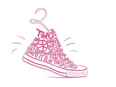 2 dribble invites basketball sports dribbble invitation calligraphy pink lettering typography dribbble invite shoes converse