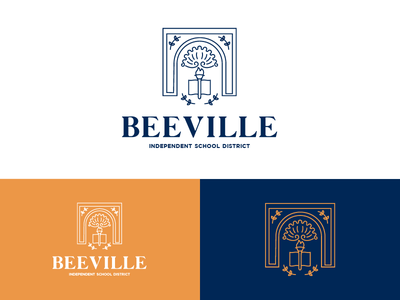 Beeville ISD Logo independent district school building monument line logo illustration identity icon drawing clean
