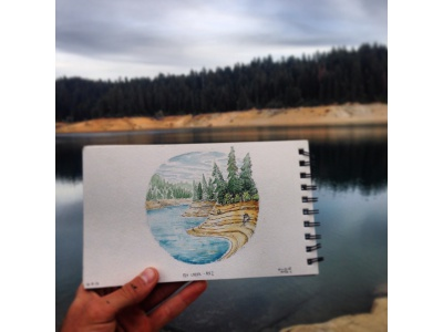 Low reservoirs in Nor Cal.  watercolor sketchbook 2d illustration ink