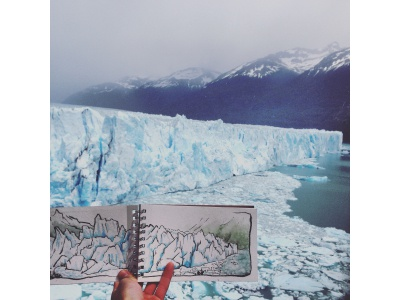 Southern Patagonia Ice Fields watercolor sketchbook 2d illustration ink